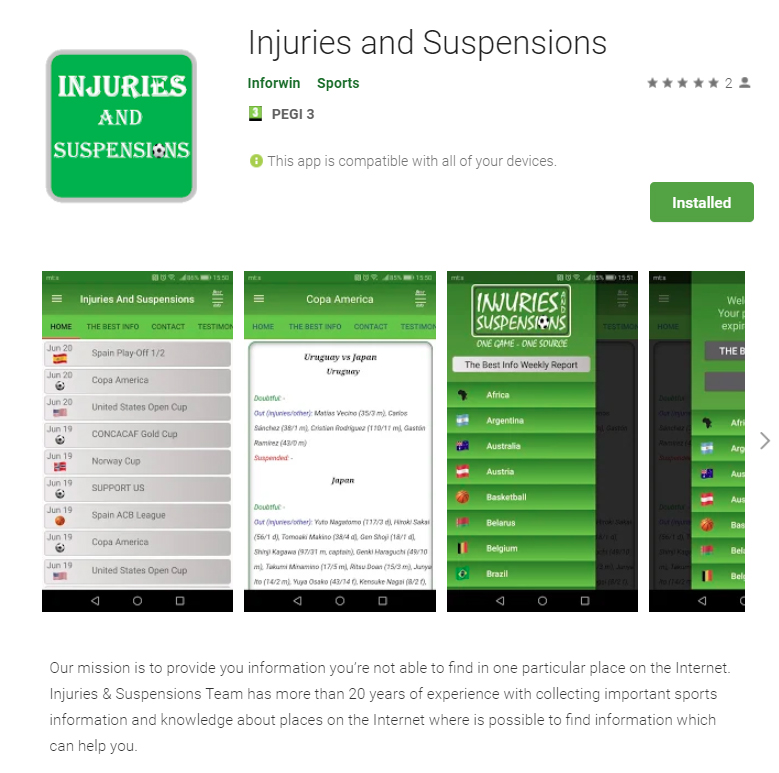 Injuries and Suspensions | Daily updated team news for 100+